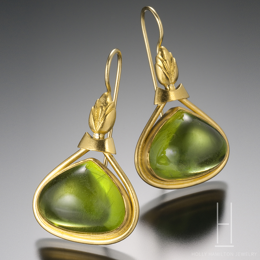 peridot riviere earrings double gold and diamond yellow
