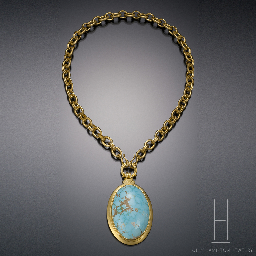 Preferred Turquoise Oval in 22k Gold - Holly Hamilton Jewelry NH65