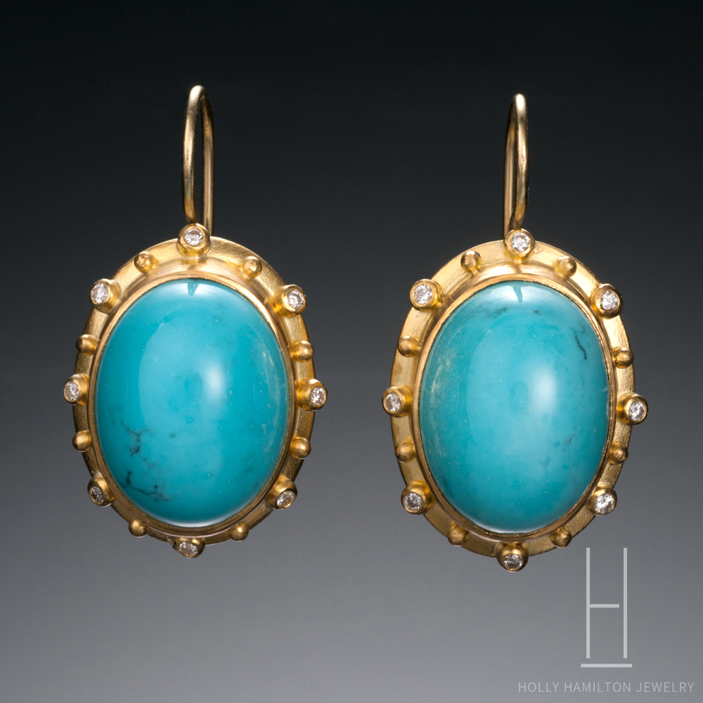 Holly Hamilton Persian Turquoise Diamond Earrings Copy